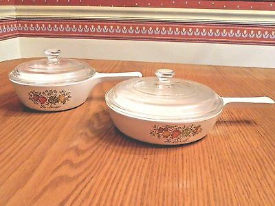 Corning Ware Spice of Life Skillets with Lids P-81-B P-83-B BRAND NEW!!