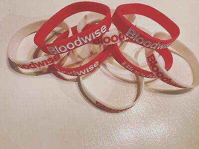 2 x Charity Wristbands - Red and White Bloodwise