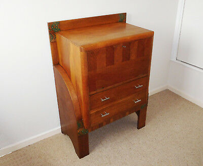 ART DECO LADIES OAK DESK Harvey Nichols Bournemouth vintage 1930s pre-war floral