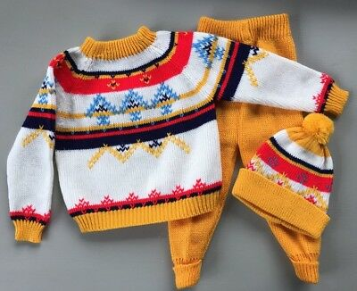 "Vintage Toddler Ski Sweater Hat Pants Set Yellow Montgomery Ward 4T ""Ugly"""