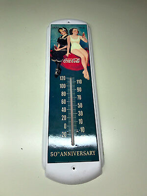 1886-1939 Metal COCA-COLA 50th Anniversary Metal Wall Hanging Thermometer