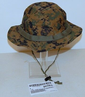 New With Tags, USMC Boonie Hat (Woodland Marpat, Size Medium)