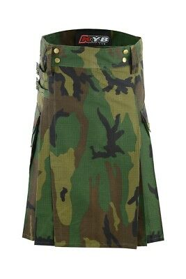 CAMOUFLAGE Mens CAMO Scottish Working Utility Kilt Kilts Cargo Pockets Military