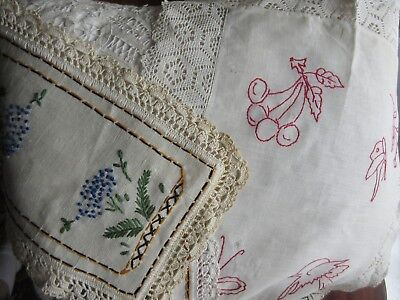Antique Red Work Embroidery Lace VTG Tray Liner Doily Dresser Scarf Linens Lot