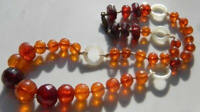 RARE ANTIQUE CHINESE AMBER & WHITE JADE NECKLACE QING 65 Grams