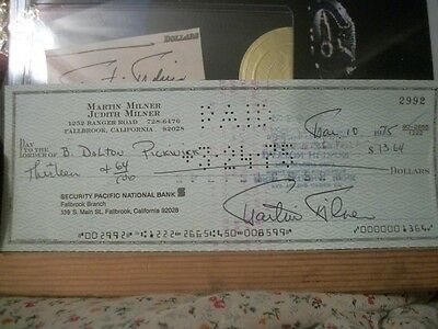 Adam 12 1975 Martin Milner Signed security pacific national Bank Check great ite