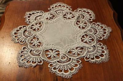 Elegantly embroidered top quality lace doilies, placemat tablecloth IVORY CREAM