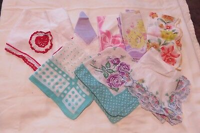 Lot Of 8 Vintage Handkerchiefs Hankies For Crafting or Collecting