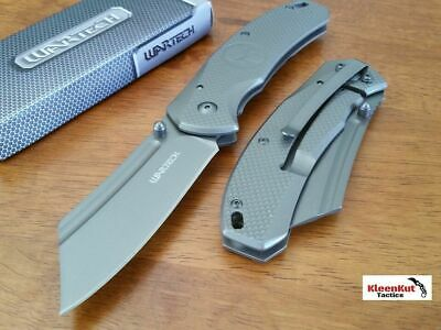 "8"" TACTICAL Punisher Gray Spring Assisted Open Pocket Knife CLEAVER Razor Blade"