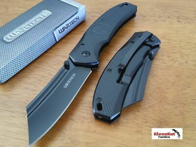 "8"" TACTICAL Punisher Black Spring Assisted Open Pocket Knife CLEAVER Razor Blade"