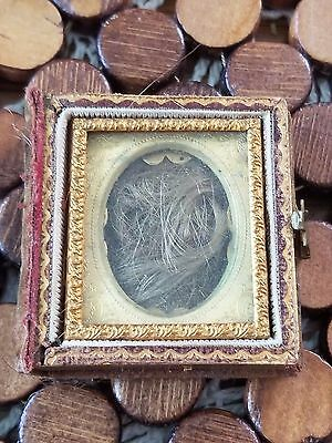 Victorian Mourning Lock of Hair Framed Enclosed Memento, Antique, Unique