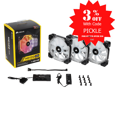 Corsair HD120 120mm PWM RGB LED Fan 3 PACK with Controller CO-9050067-WW..