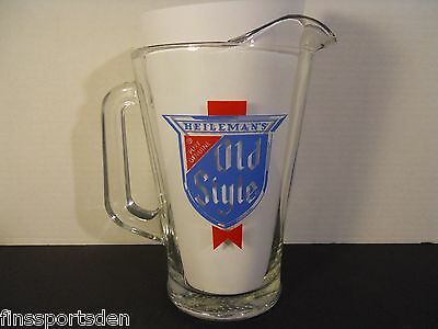 Vintage HEILEMAN'S OLD STYLE Advertising Glass Beer Pitcher