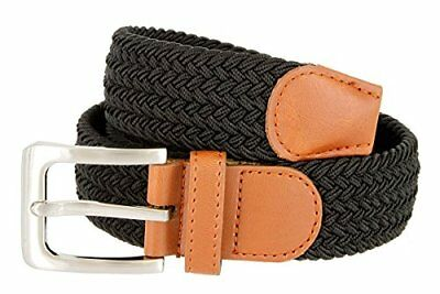 """Hagora Women's Multi Braided Stretchy Contrast Leather 1-3/8"""" Wide Buckle Belt"""