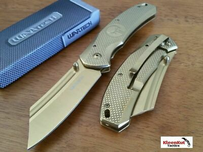 "8"" TACTICAL Punisher Gold Spring Assisted Open Pocket Knife CLEAVER Razor Blade"