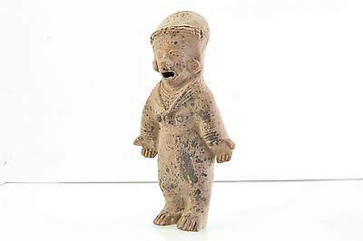 Pre-Columbian Pottery Artifact of Standing Figure in Ceremonial Dress