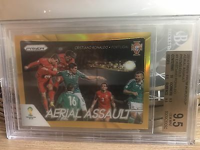 Panini Prizm World Cup 2014 Cristiano Ronaldo Aerial Assault Gold 2/10 Graded