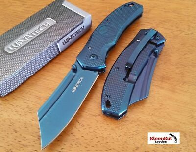 "8"" TACTICAL Punisher Blue Spring Assisted Open Pocket Knife CLEAVER Razor Blade"