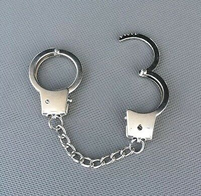 Mini Metal Police Handcuffs Keychain Key Chain Ring Finger Cuffs Heavy Free Ship