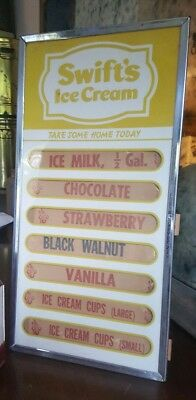 Vtg Rare Swifts Ice Cream Menu Board Dairy Store Advertising Not Porcelain Sign