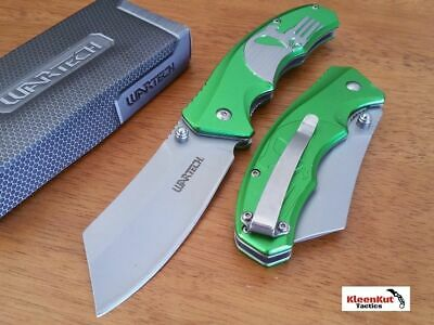 "8"" Tactical Green Punisher Skull Spring Assisted Open Cleaver Pocket Knife Razor"