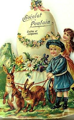 1880's Lovely Easter Giant Egg Cart Kids Bunnies Chocolat Poulain Die Cut *R