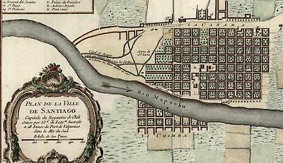 Santiago Chile Montagne St. Lucie early city plan 1756 Bellin beautiful fine map