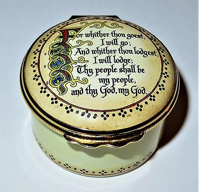 Halcyon Days Enamel Box - Old Testament Bible Verse - Ruth - Horchow Collection