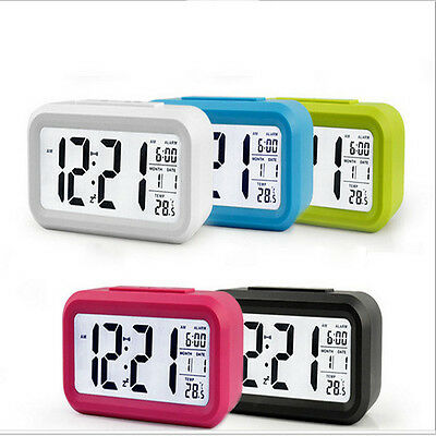 Hot Digital LED Snooze Electronic Alarm Clock Thermome Backlight Time Calendar
