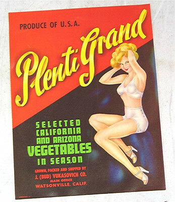 Vintage Vegetable Label; Pin Up Girl Plenti Grand  - Never used