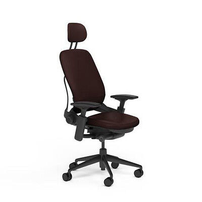 Steelcase Leap Office Chair V2 Adjustable Headrest Mahogany Leather Black Frame