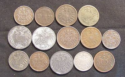 Lot of 14 German Coins - 1874-1925 Germany
