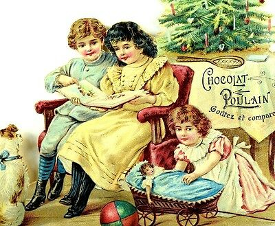 1880's Superb Christmas Scene Doll Tree Candles Kids Chocolat Poulain Die Cut *R