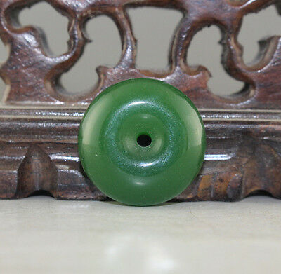 Chinese hand carved green glass safety buckle pendant amulet