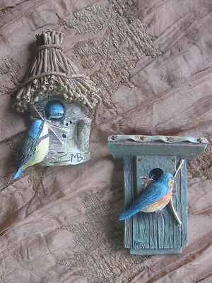 Lot Of 2 Marjolein Bastin Refrigerator Magnets Bluebirds Perched On Birdhouses