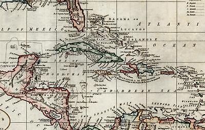 West Indies Caribbean East & West Florida Louisiana Cuba 1794 Russell old map