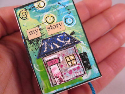 Original Mixed Media Matchbox Tiny Inspirations Journal Blue Green Tiny House