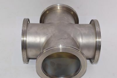 NEW VACUUM FITTING STAINLESS STEEL CROSS 4-WAY 5-1/8'' OD 4'' ID Stainless Steel