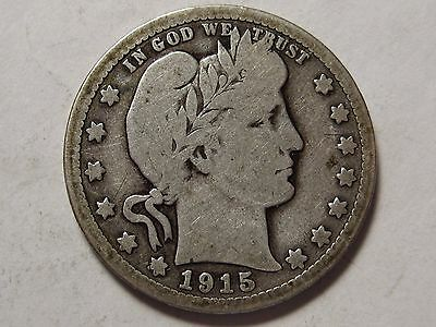 1915-D SILVER BARBER QUARTER - PARTIAL LIBERTY IN THE HEADBAND - 12 photos  (y)