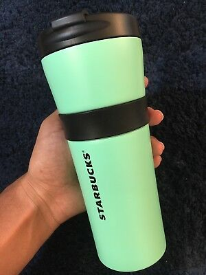 Starbucks 2016 Mint Green Travel Grip Stainless Steel Double Wall Tumbler 16oz