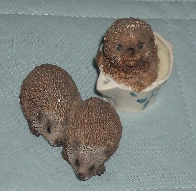 Two Stone Critters Hedgehog Resin Figurines