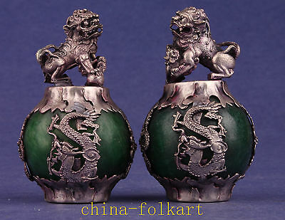 2 Figurines Tibet Silver Green Jade Lion Statues Decorations Collectable