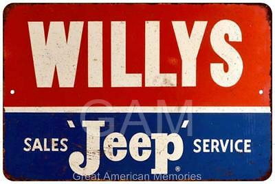 Willys Jeep Sales and Service Vintage Look Reproduction 8x12 Sign 8121440
