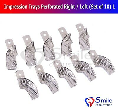 Partial Denture Impression Trays Perforated (Set of 10) Size L Right/Left Smile