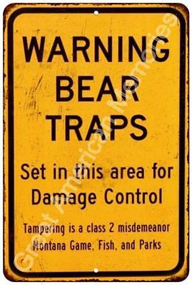 Warning Bear Traps Vintage Look Reproduction Metal Sign 8x12 8122821