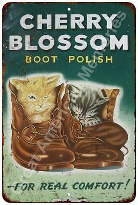 Cherry Blossom Boot Polish Vintage Reproduction Metal Sign 8x12 8122399