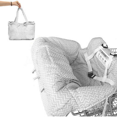 ☆Baby Kid Portable Shopping Cart Cover Strap Trolley Safe Chair Seat Stripe Gray