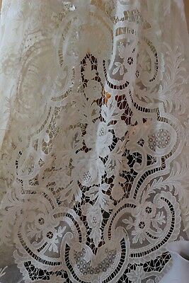Tambour Embroidered Lace Tablecloth, Bed Coverlet, Cornely Chain Stitch, 92x72