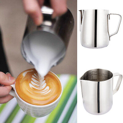 12oz Milk Pitcher Frother Latte Jug 350ml Stainless Steel for Cappuccino Coffee
