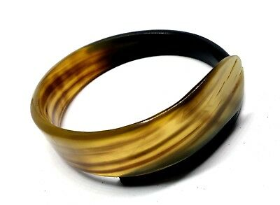 Handmade Natural black buffalo Horn Swirl Bangle Bracelet